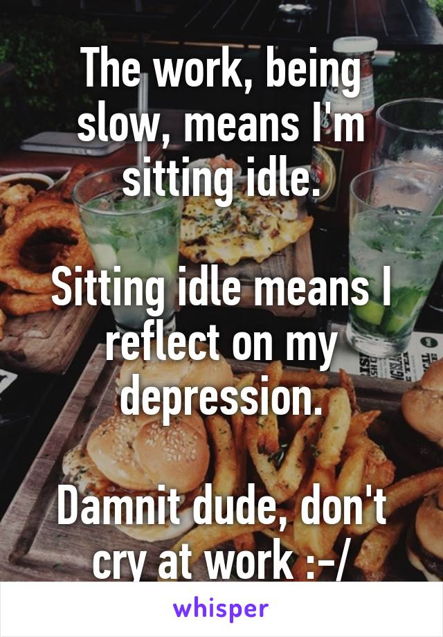 The work, being slow, means I'm sitting idle.  Sitting idle means I reflect on my depression.  Damnit dude, don't cry at work :-/