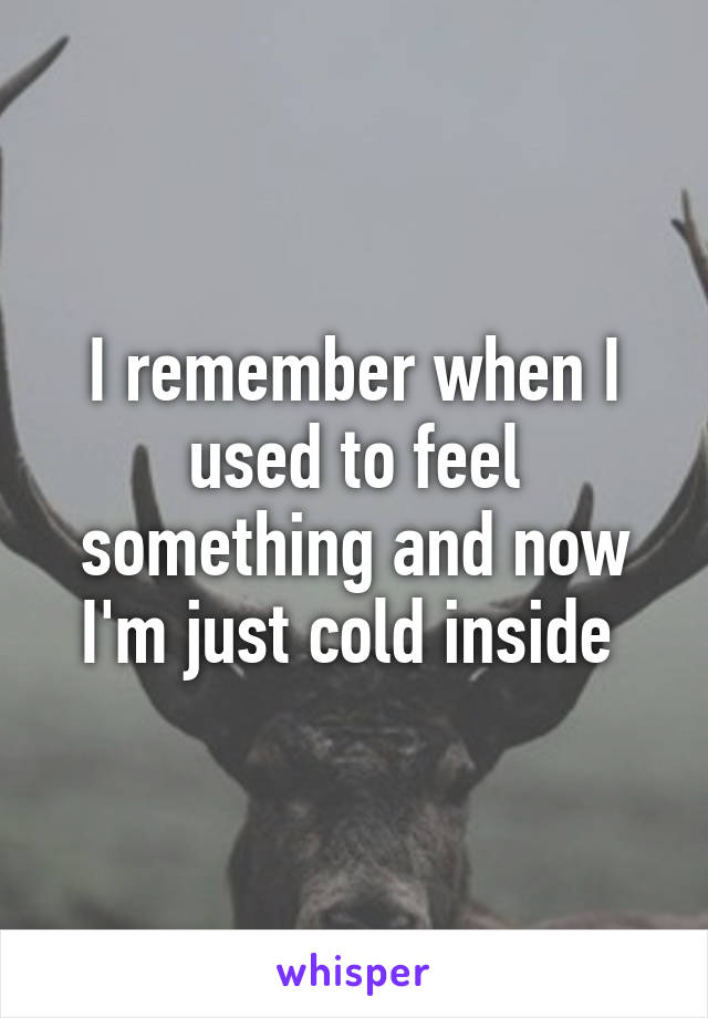 I remember when I used to feel something and now I'm just cold inside