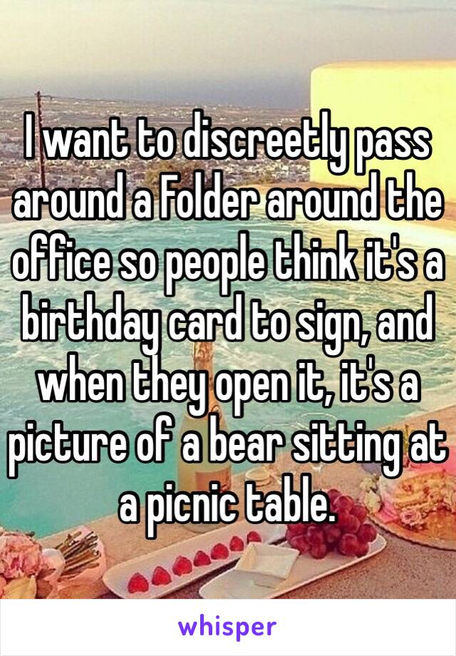 I want to discreetly pass around a Folder around the office so people think it's a birthday card to sign, and when they open it, it's a picture of a bear sitting at a picnic table.
