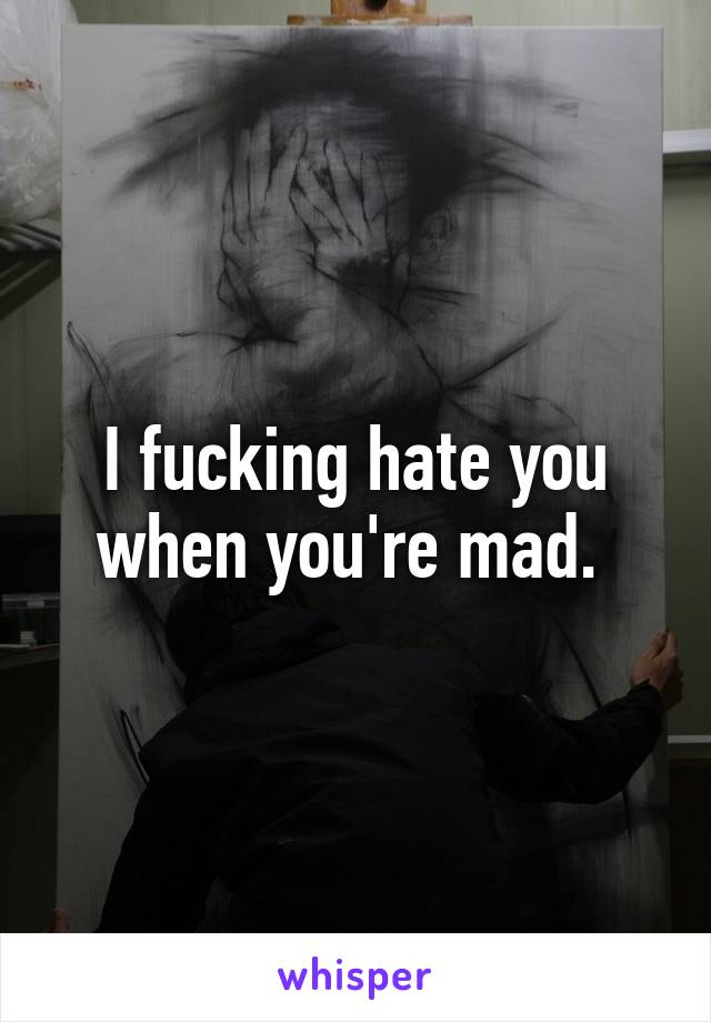 I fucking hate you when you're mad.