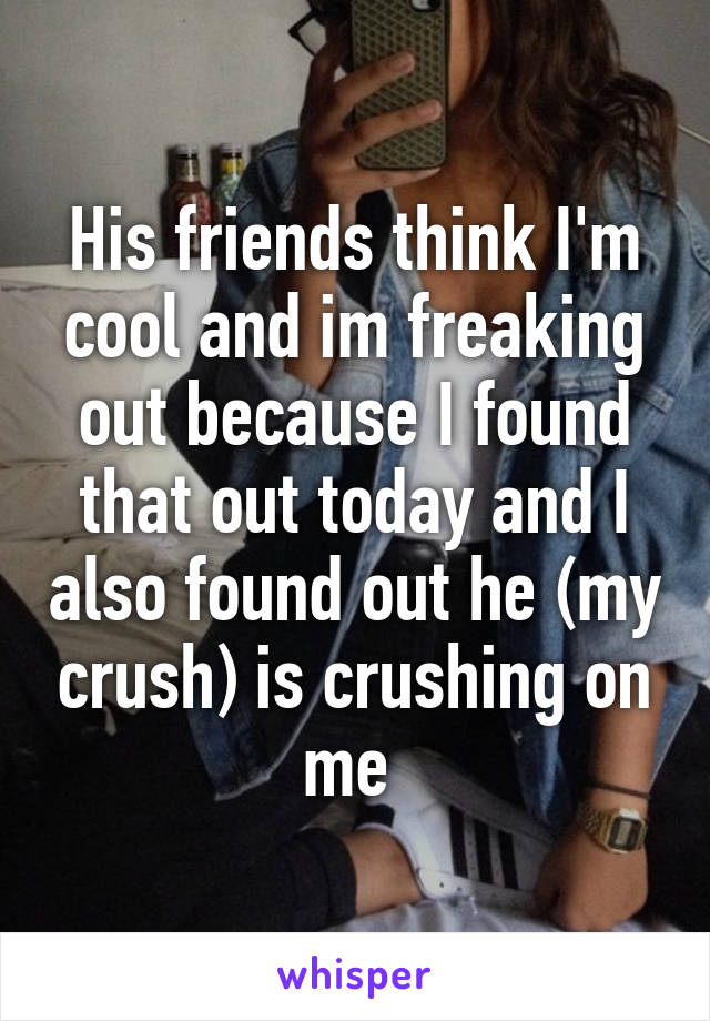 His friends think I'm cool and im freaking out because I found that out today and I also found out he (my crush) is crushing on me