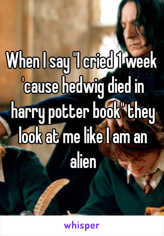 """When I say """"I cried 1 week 'cause hedwig died in harry potter book"""" they look at me like I am an alien"""