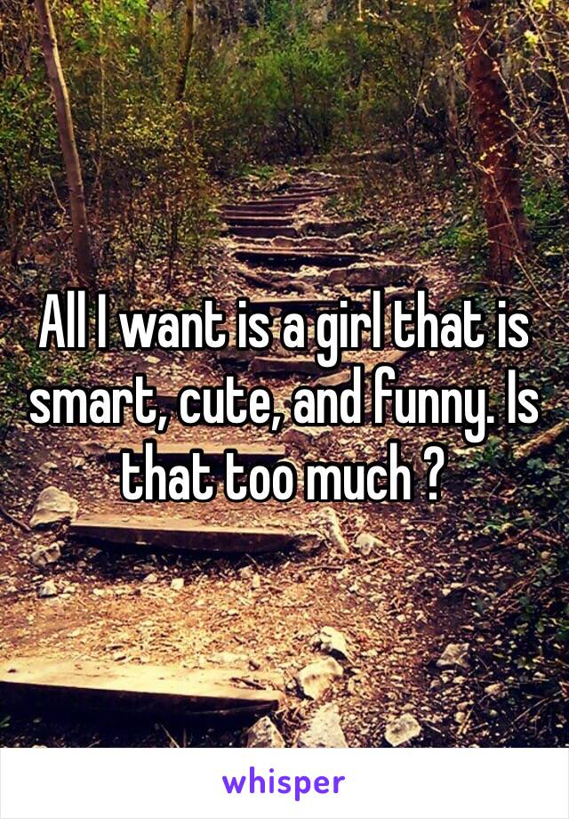 All I want is a girl that is smart, cute, and funny. Is that too much ?
