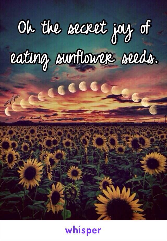 Oh the secret joy of eating sunflower seeds.