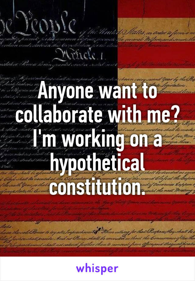 Anyone want to collaborate with me? I'm working on a hypothetical constitution.