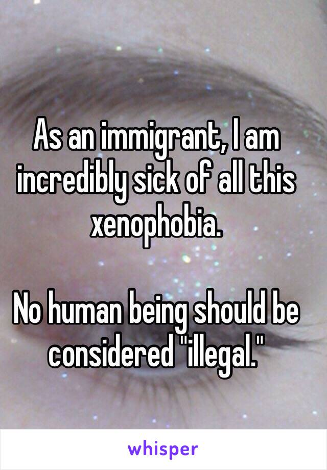 "As an immigrant, I am incredibly sick of all this xenophobia.   No human being should be considered ""illegal."""