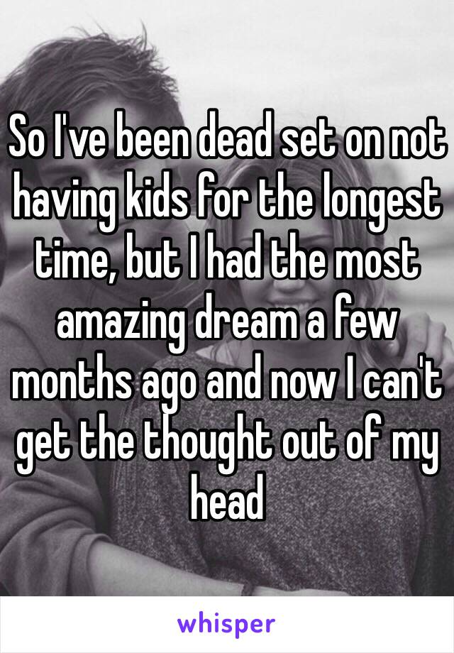 So I've been dead set on not having kids for the longest time, but I had the most amazing dream a few months ago and now I can't get the thought out of my head