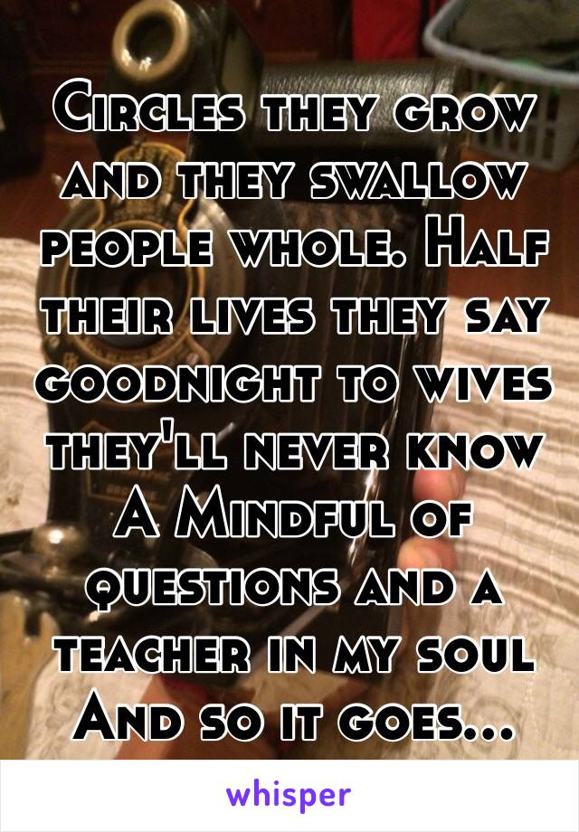 Circles they grow and they swallow people whole. Half their lives they say goodnight to wives they'll never know A Mindful of questions and a teacher in my soul  And so it goes...