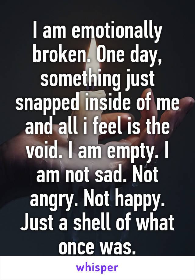 I am emotionally broken. One day, something just snapped inside of me and all i feel is the void. I am empty. I am not sad. Not angry. Not happy. Just a shell of what once was.