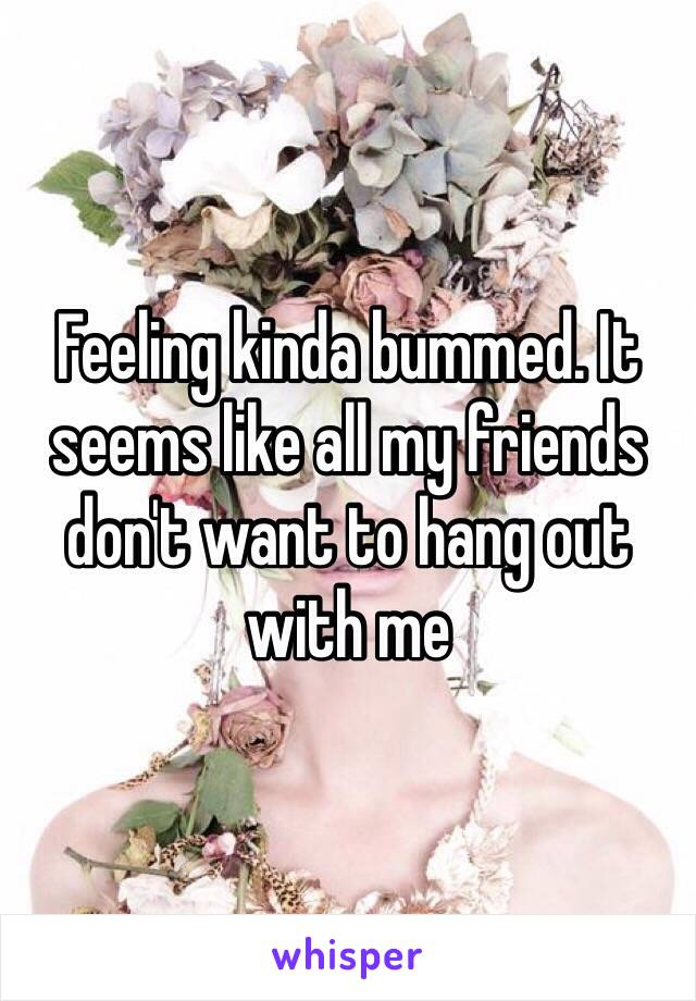 Feeling kinda bummed. It seems like all my friends don't want to hang out with me