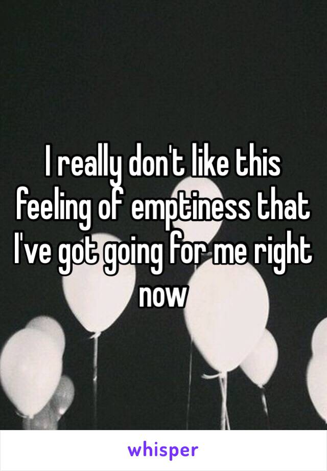 I really don't like this feeling of emptiness that I've got going for me right now