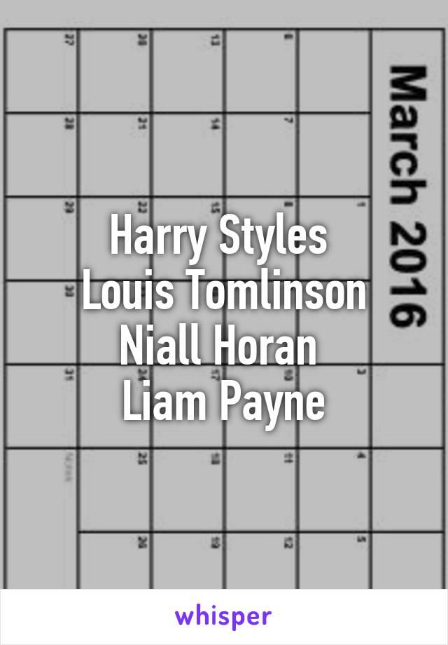 Harry Styles  Louis Tomlinson Niall Horan  Liam Payne