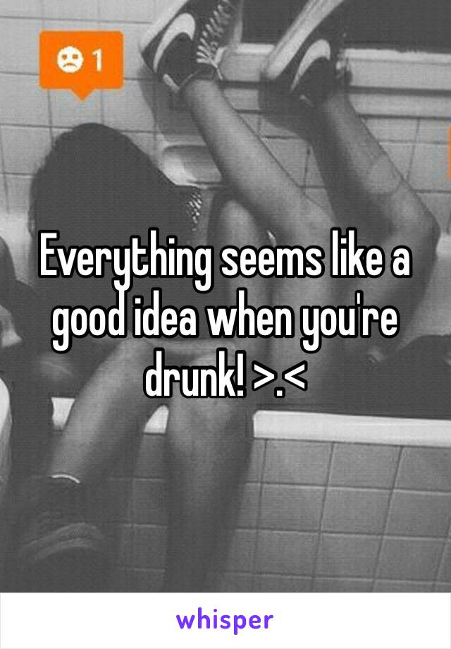 Everything seems like a good idea when you're drunk! >.<