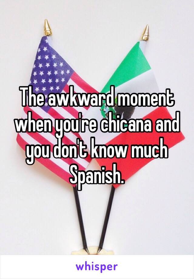 The awkward moment when you're chicana and you don't know much Spanish.