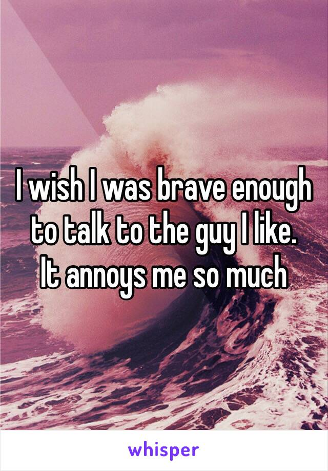 I wish I was brave enough to talk to the guy I like. It annoys me so much