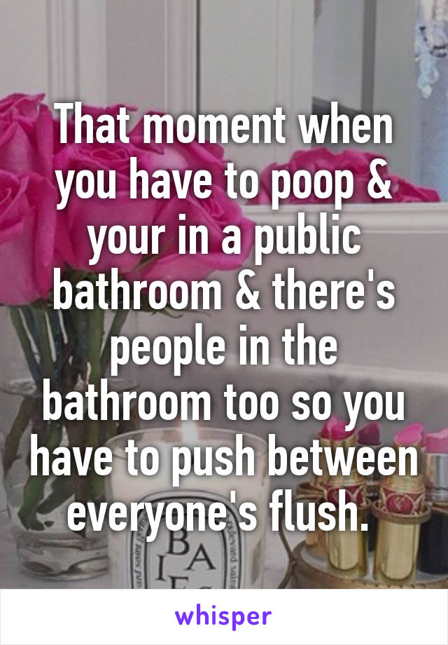 That moment when you have to poop & your in a public bathroom & there's people in the bathroom too so you have to push between everyone's flush.