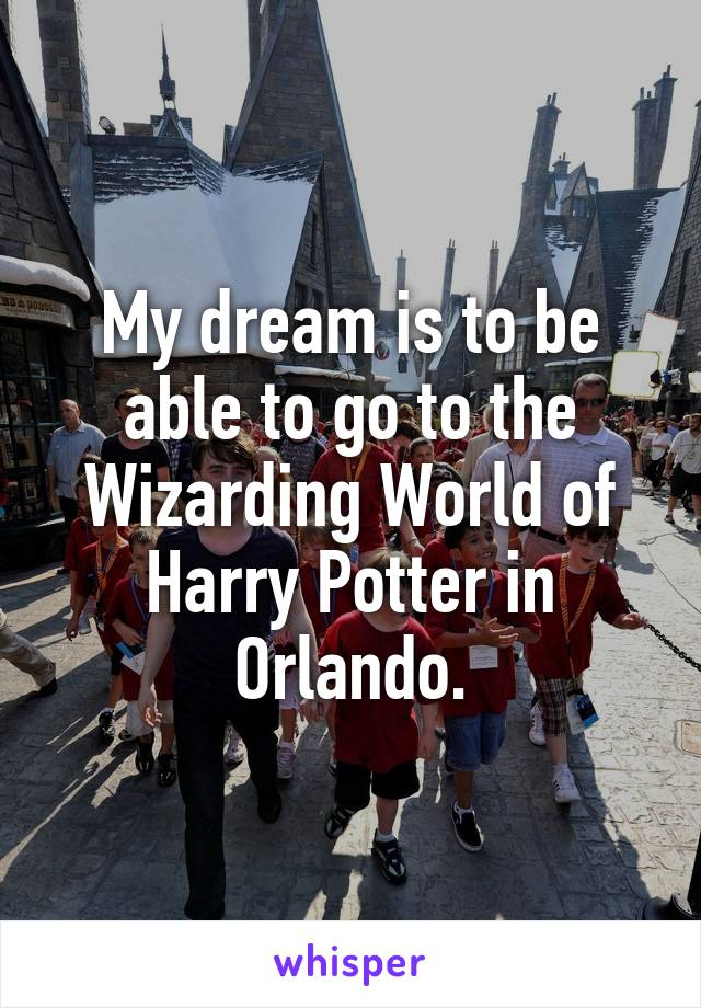 My dream is to be able to go to the Wizarding World of Harry Potter in Orlando.