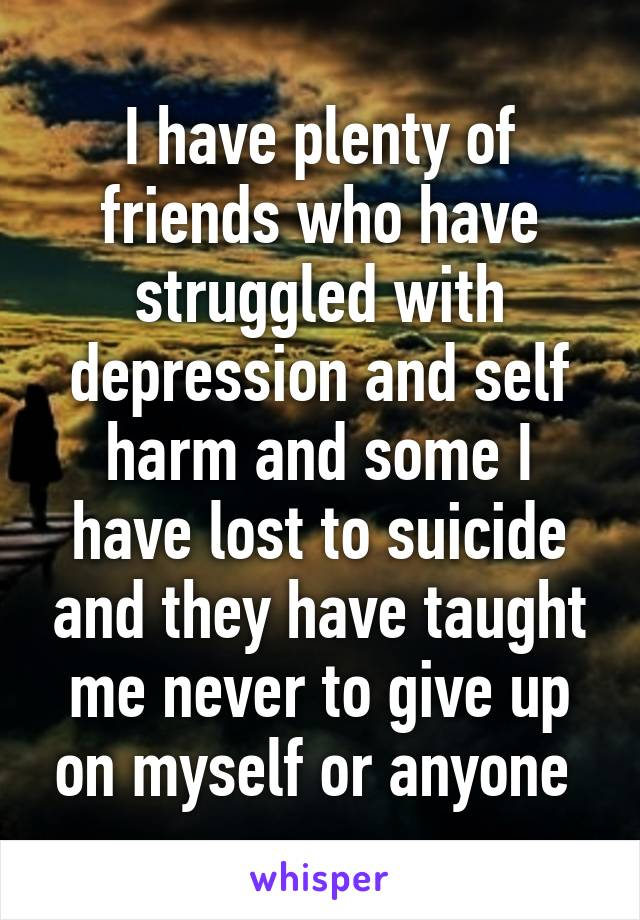 I have plenty of friends who have struggled with depression and self harm and some I have lost to suicide and they have taught me never to give up on myself or anyone