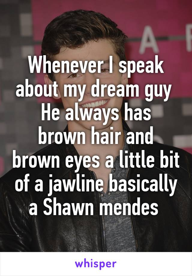 Whenever I speak about my dream guy  He always has brown hair and brown eyes a little bit of a jawline basically a Shawn mendes