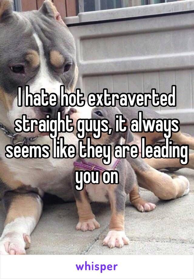 I hate hot extraverted straight guys, it always seems like they are leading you on
