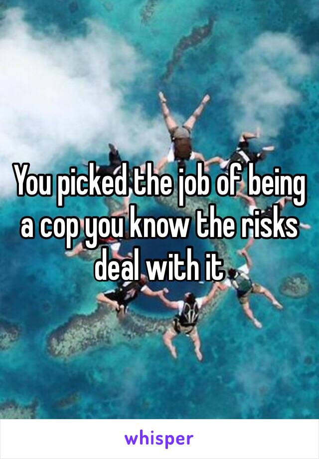 You picked the job of being a cop you know the risks deal with it