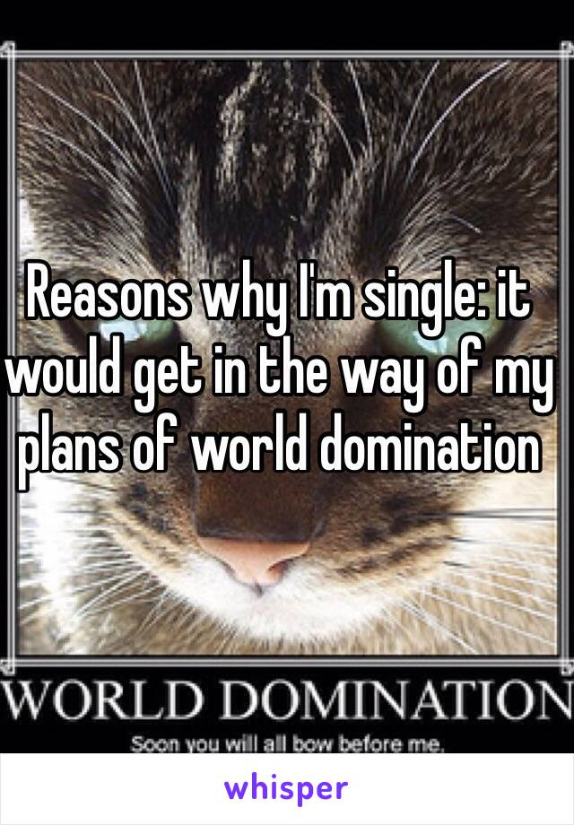Reasons why I'm single: it would get in the way of my plans of world domination