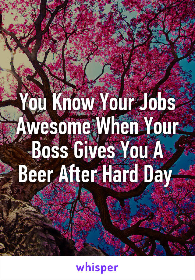 You Know Your Jobs Awesome When Your Boss Gives You A Beer After Hard Day