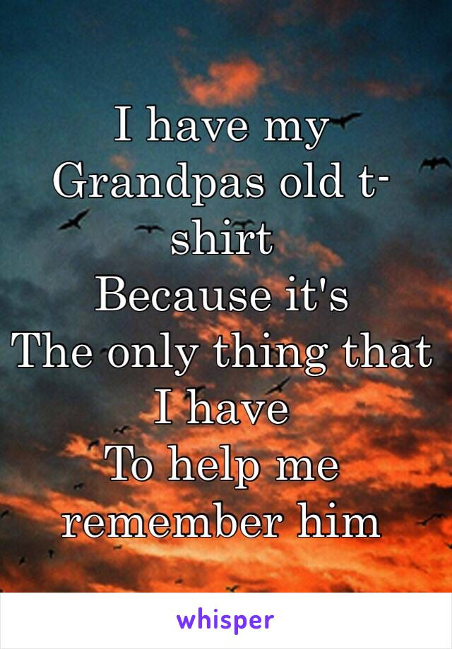 I have my  Grandpas old t-shirt  Because it's  The only thing that I have  To help me remember him