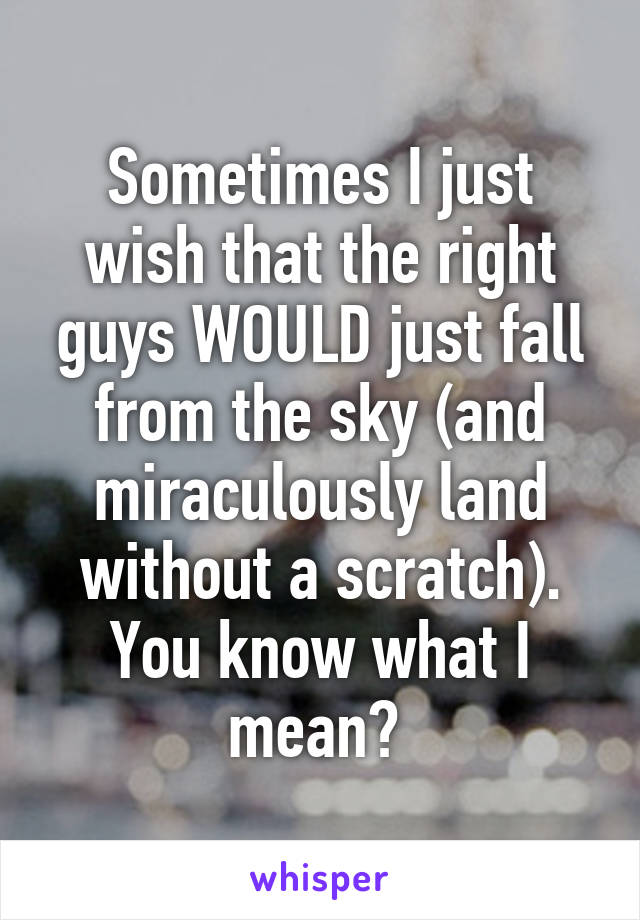 Sometimes I just wish that the right guys WOULD just fall from the sky (and miraculously land without a scratch). You know what I mean?