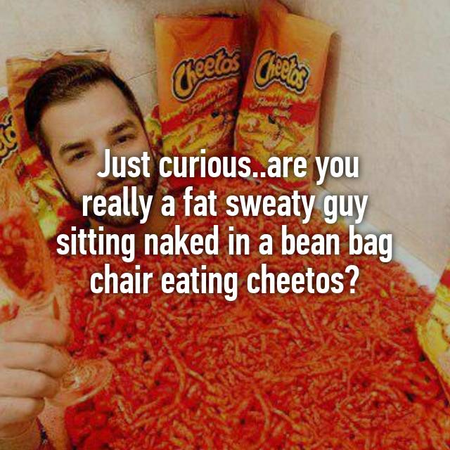 Just Curiousare You Really A Fat Sweaty Guy Sitting Naked In Bean Bag Chair Eating Cheetos