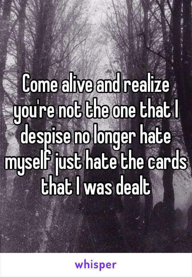Come alive and realize you're not the one that I despise no longer hate myself just hate the cards that I was dealt