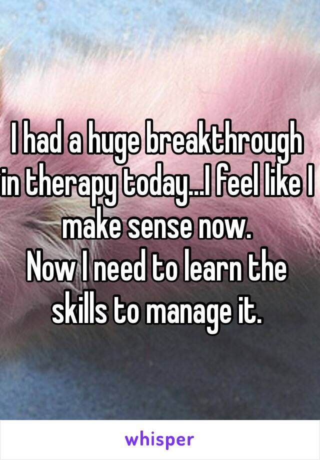 I had a huge breakthrough in therapy today...I feel like I make sense now. Now I need to learn the skills to manage it.