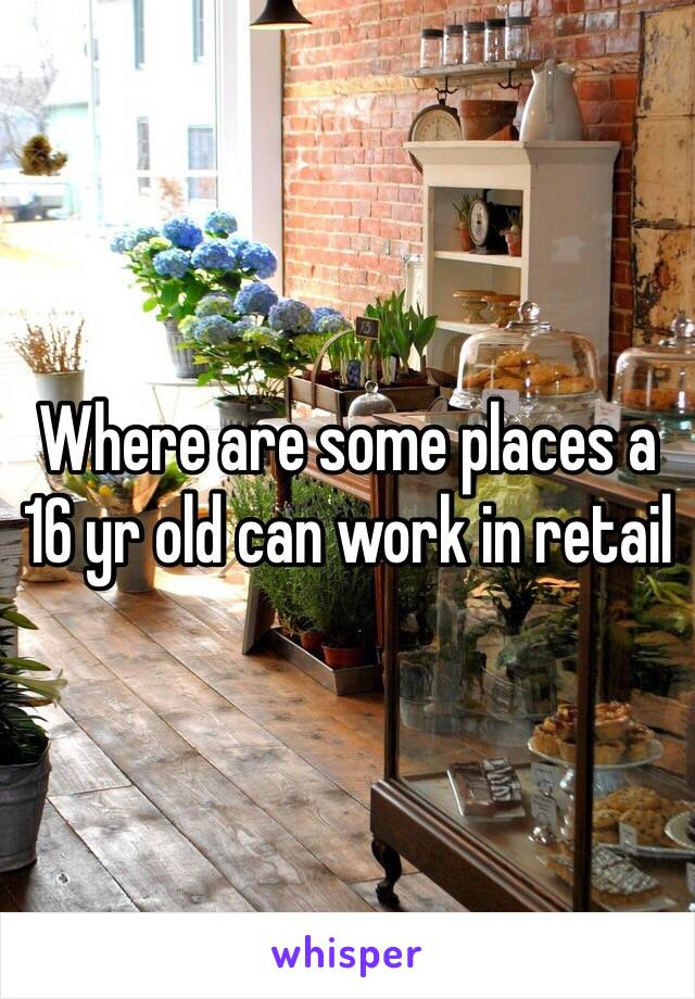 Where are some places a 16 yr old can work in retail