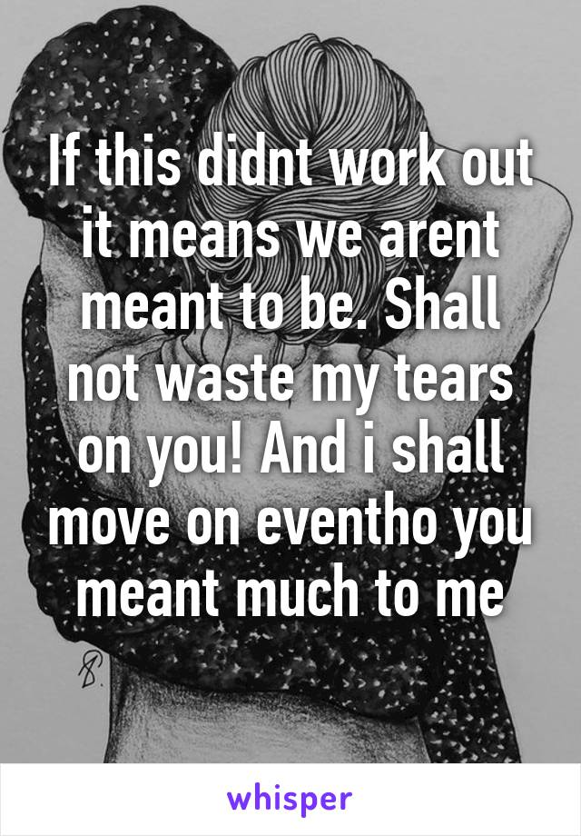 If this didnt work out it means we arent meant to be. Shall not waste my tears on you! And i shall move on eventho you meant much to me
