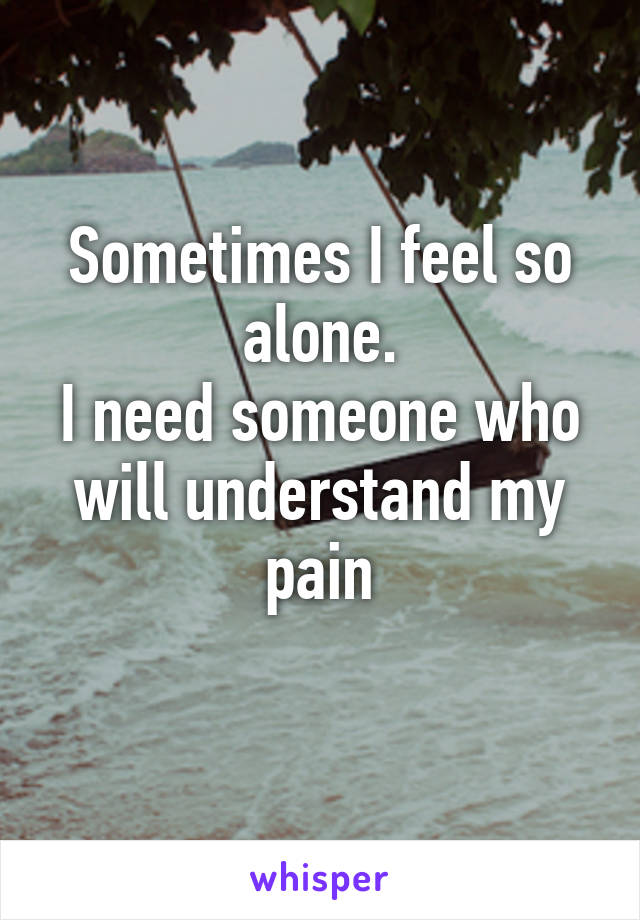 Sometimes I feel so alone. I need someone who will understand my pain