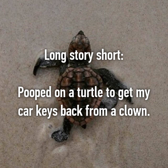 Long story short:  Pooped on a turtle to get my car keys back from a clown.