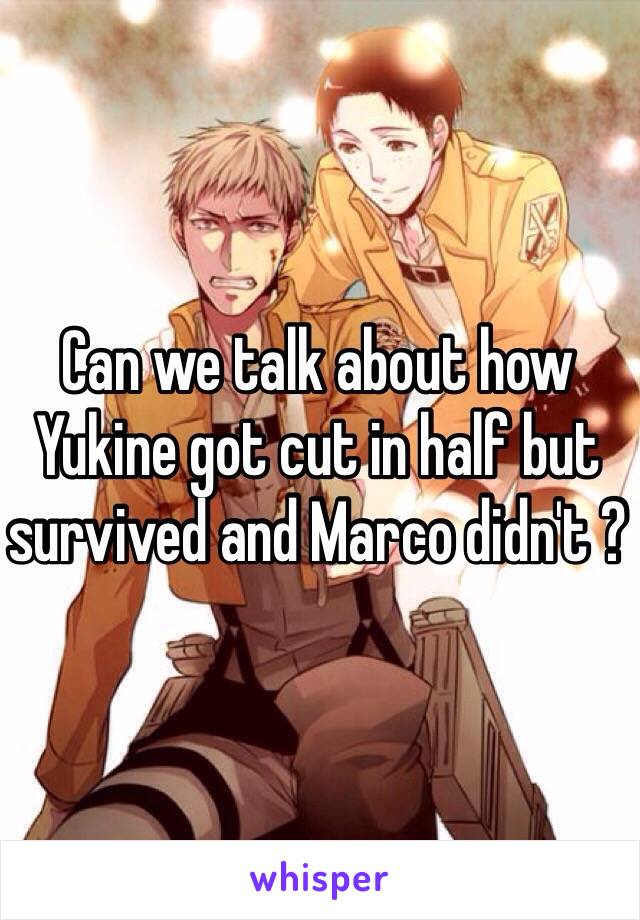 Can we talk about how Yukine got cut in half but survived and Marco didn't ?