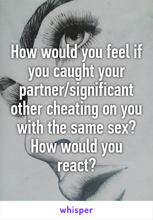 How would you feel if you caught your partner/significant other cheating on you with the same sex? How would you react?