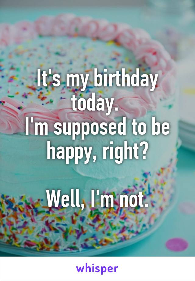 It's my birthday today.  I'm supposed to be happy, right?  Well, I'm not.