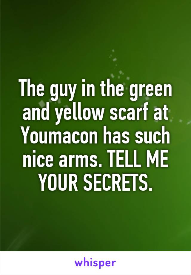 The guy in the green and yellow scarf at Youmacon has such nice arms. TELL ME YOUR SECRETS.