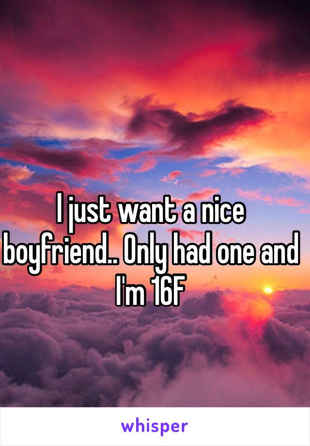 I just want a nice boyfriend.. Only had one and I'm 16F