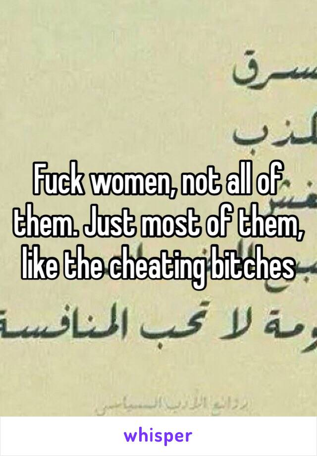 Fuck women, not all of them. Just most of them, like the cheating bitches