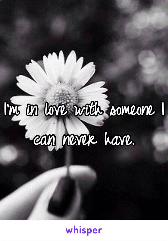 I'm in love with someone I can never have.