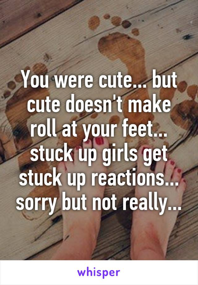 You were cute... but cute doesn't make roll at your feet... stuck up girls get stuck up reactions... sorry but not really...