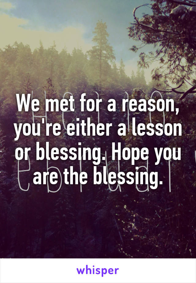 We met for a reason, you're either a lesson or blessing. Hope you are the blessing.
