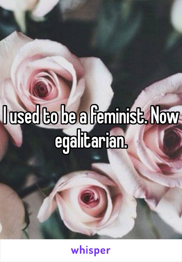 I used to be a feminist. Now egalitarian.