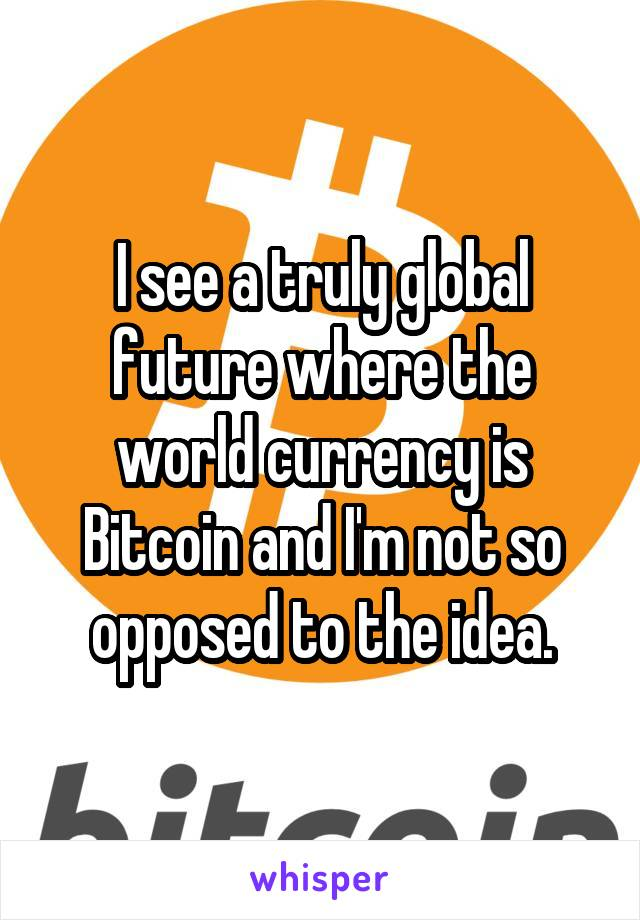 I see a truly global future where the world currency is Bitcoin and I'm not so opposed to the idea.