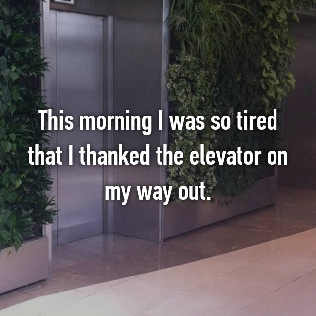 This morning I was so tired that I thanked the elevator on my way out.