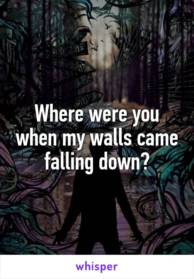 Where were you when my walls came falling down?