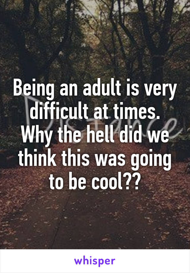 Being an adult is very difficult at times. Why the hell did we think this was going to be cool??